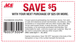graphic relating to Ace Hardware Printable Coupons referred to as Fb COUPON $$ Preserve $5/$25 Get a Ace Components