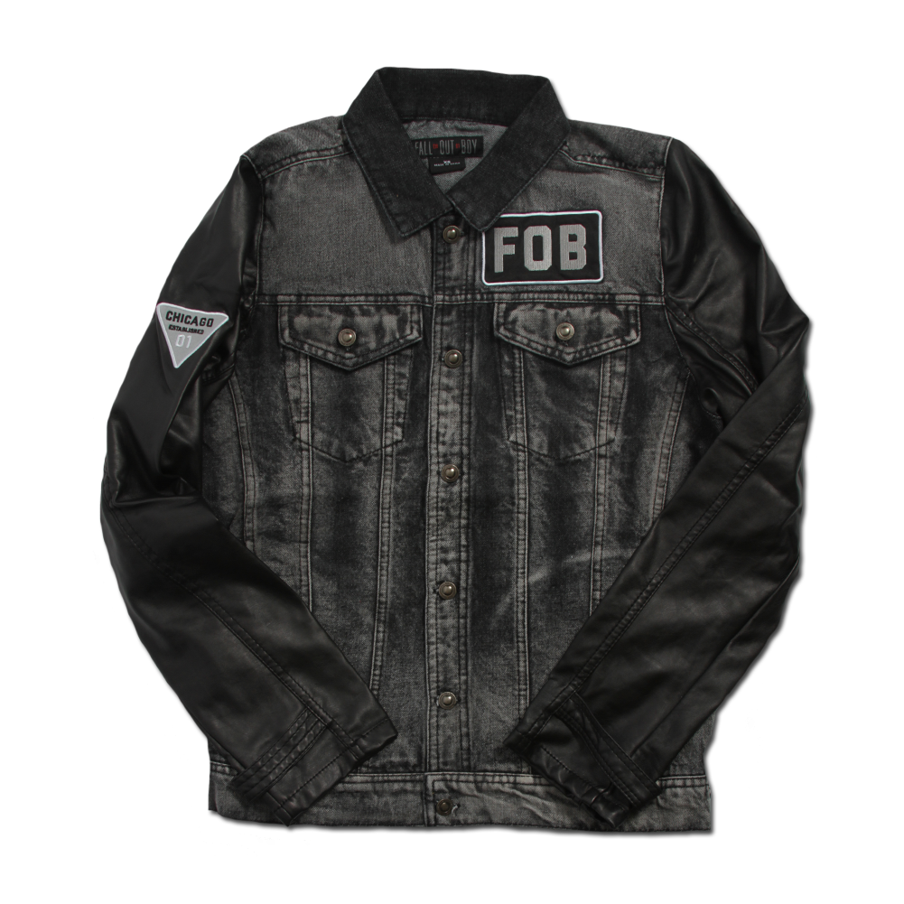 This Is A Custom Fall Out Boy Denim Jacket With Faux Leather Sleeves Badly Drawn Tshirt Short Circuit Mens Buy Online At Grindstore Embroidered Breast Patch And Back