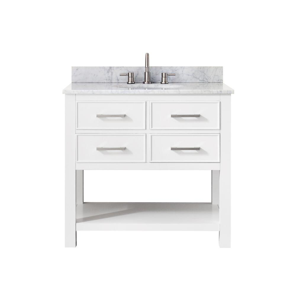Avanity Brooks 37 In W X 22 In D X 35 In H Vanity In White With Marble Vanity Top In Carrera White And White Basin Brooks Vs36 Wt C Vanity Combos Marble Vanity Tops