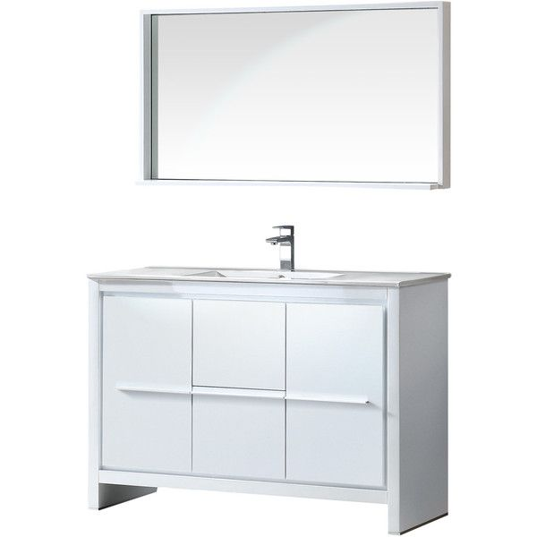 "Allier 48"" Single Modern Bathroom Vanity Set With Mirror Reviews Inspiration Bathroom Cabinet Reviews Decorating Design"