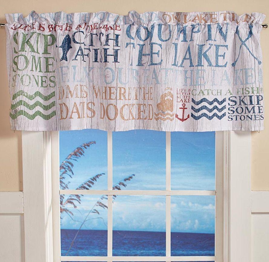 Lake Life House Decor Bathroom Themed Window Valance Topper Rod