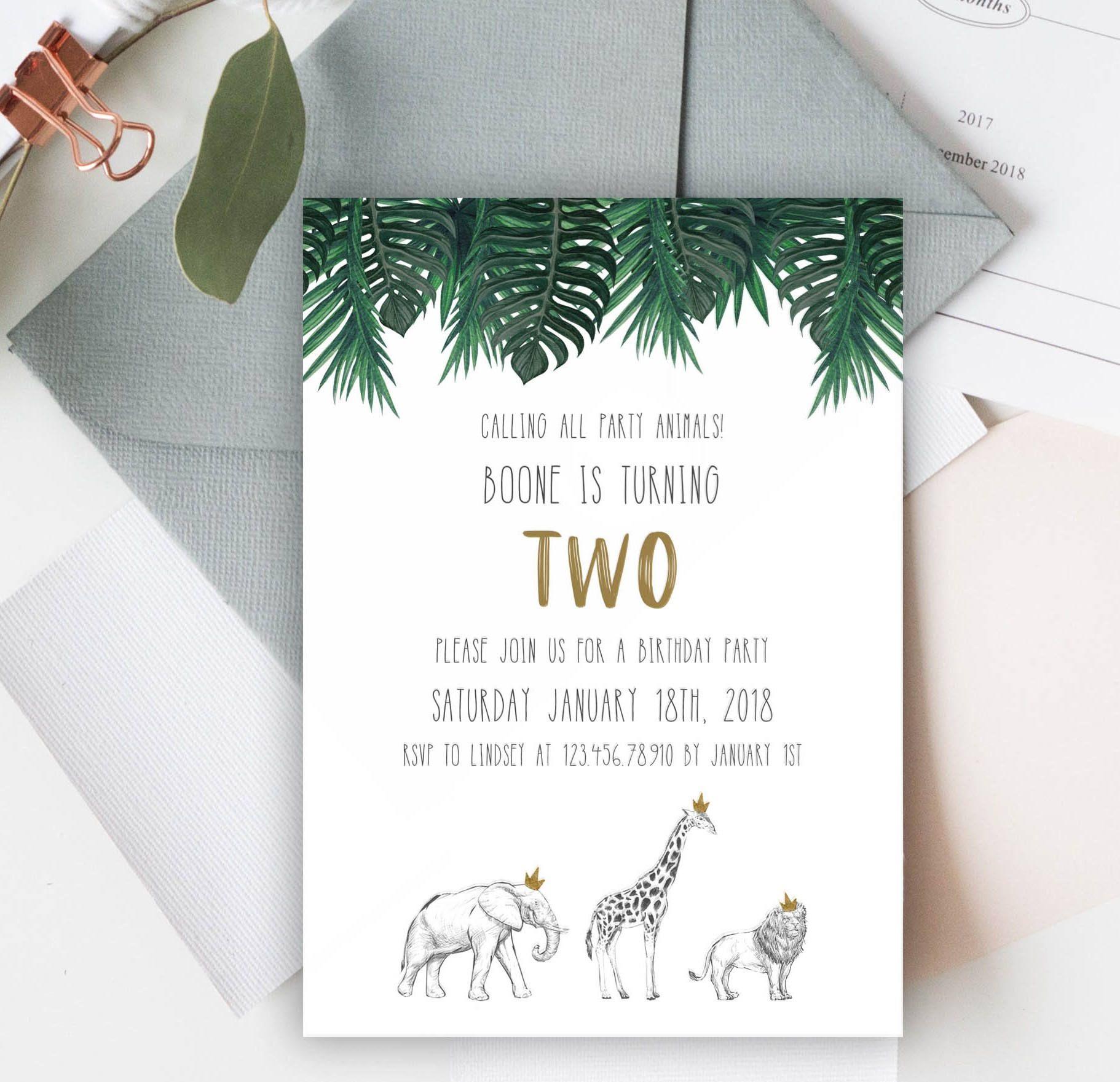 Safari Animals Birthday Invitation Template