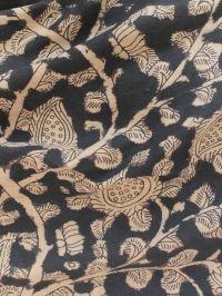 Buy Beige with black Hand Painted Kalamkari Blouse material