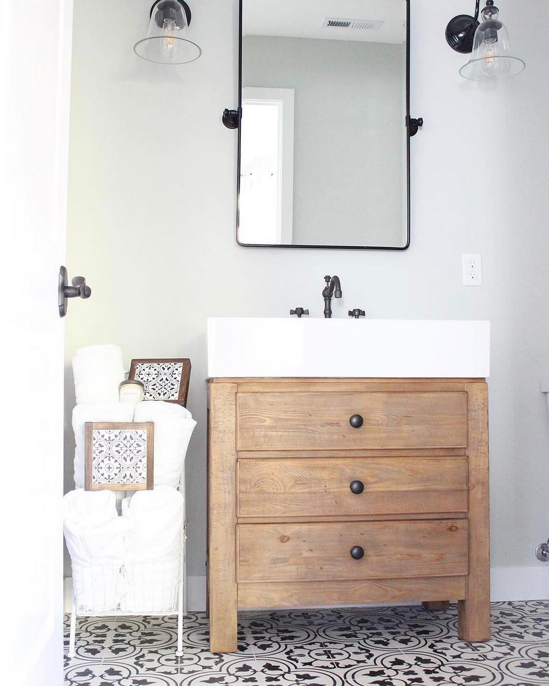 We love seeing our Mason Reclaimed Wood Sink Console in this ...