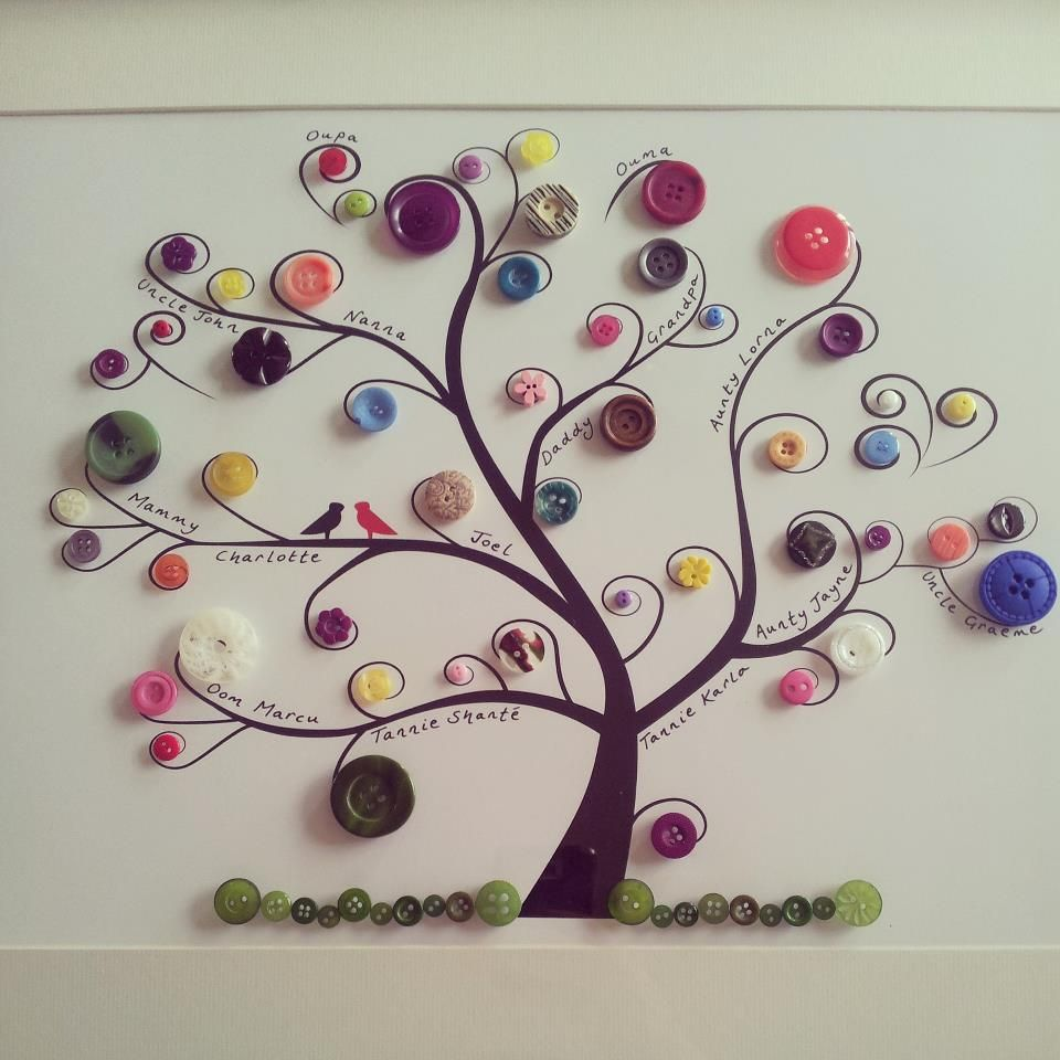 family tree craft ideas family tree made with buttons search crafts 4433
