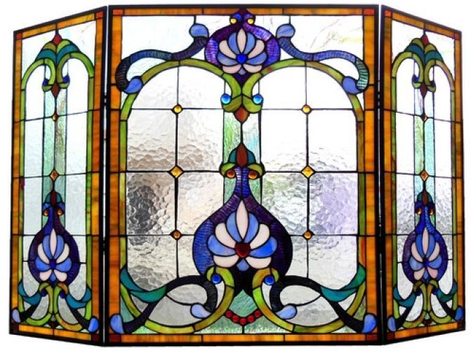 Stained Glass Fireplace Screen Victorian Design Tiffany Style Folding Panel 3 Pc Victorian Glas Glas In Lood