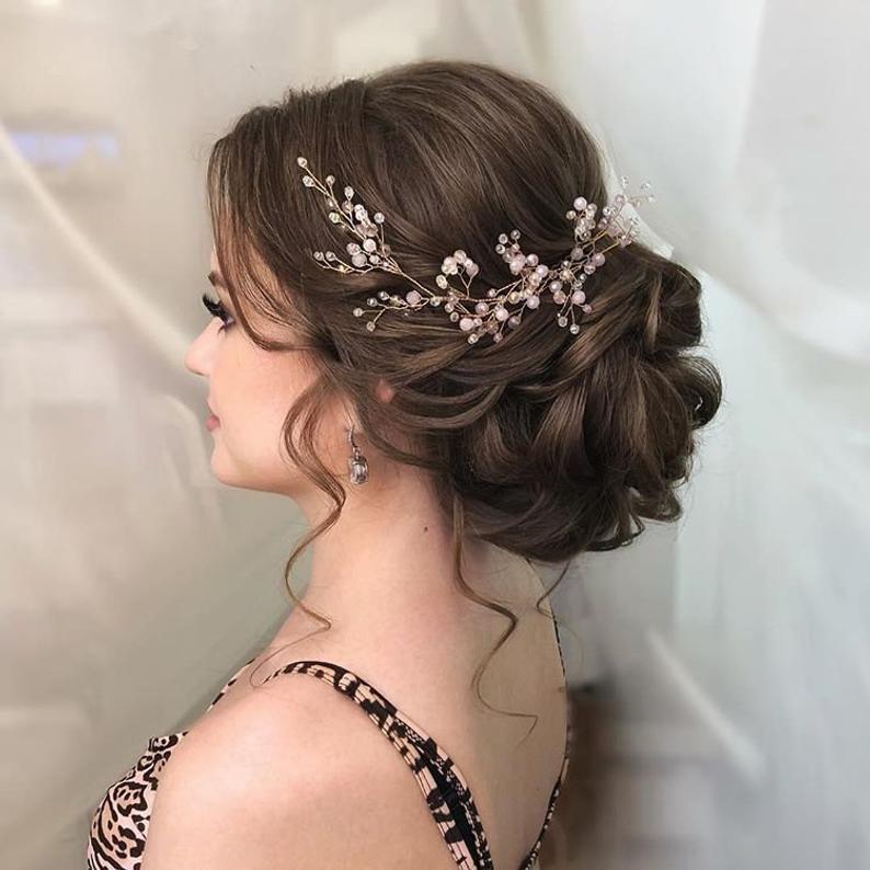 Boda cabello vid extra largo cristal y perla pelo pieza flor | Etsy