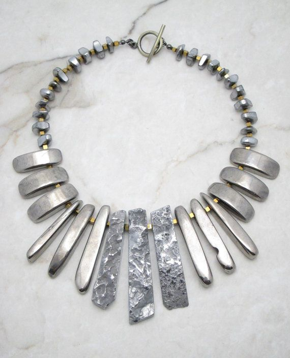 Statement Necklace.Silver Necklace.Big Bold Necklace.Chunky Statement Necklace.Tribal Necklace.Bohemian Necklace. SILVER BULLET