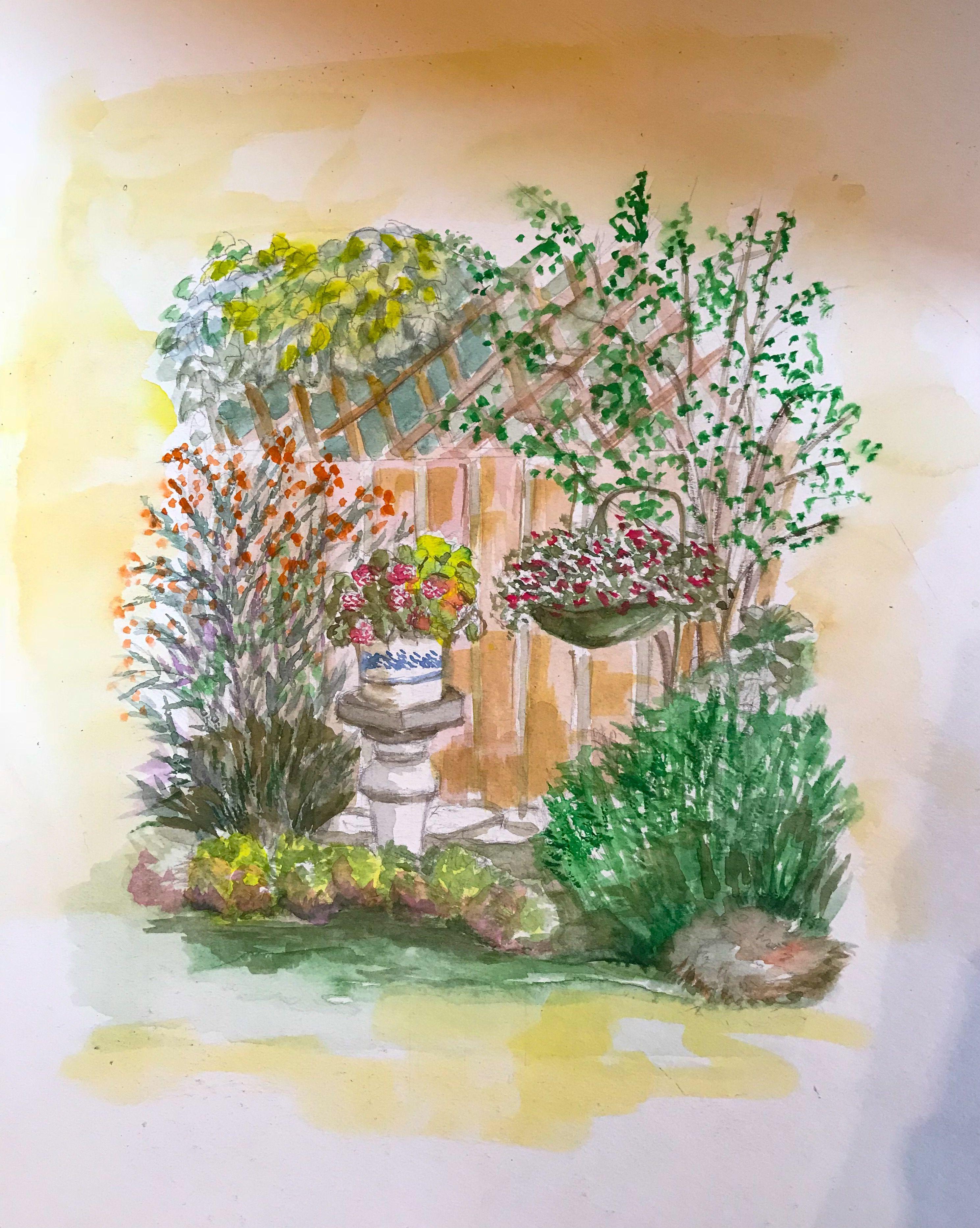 Garden Walk Watercolor Guide Illustration