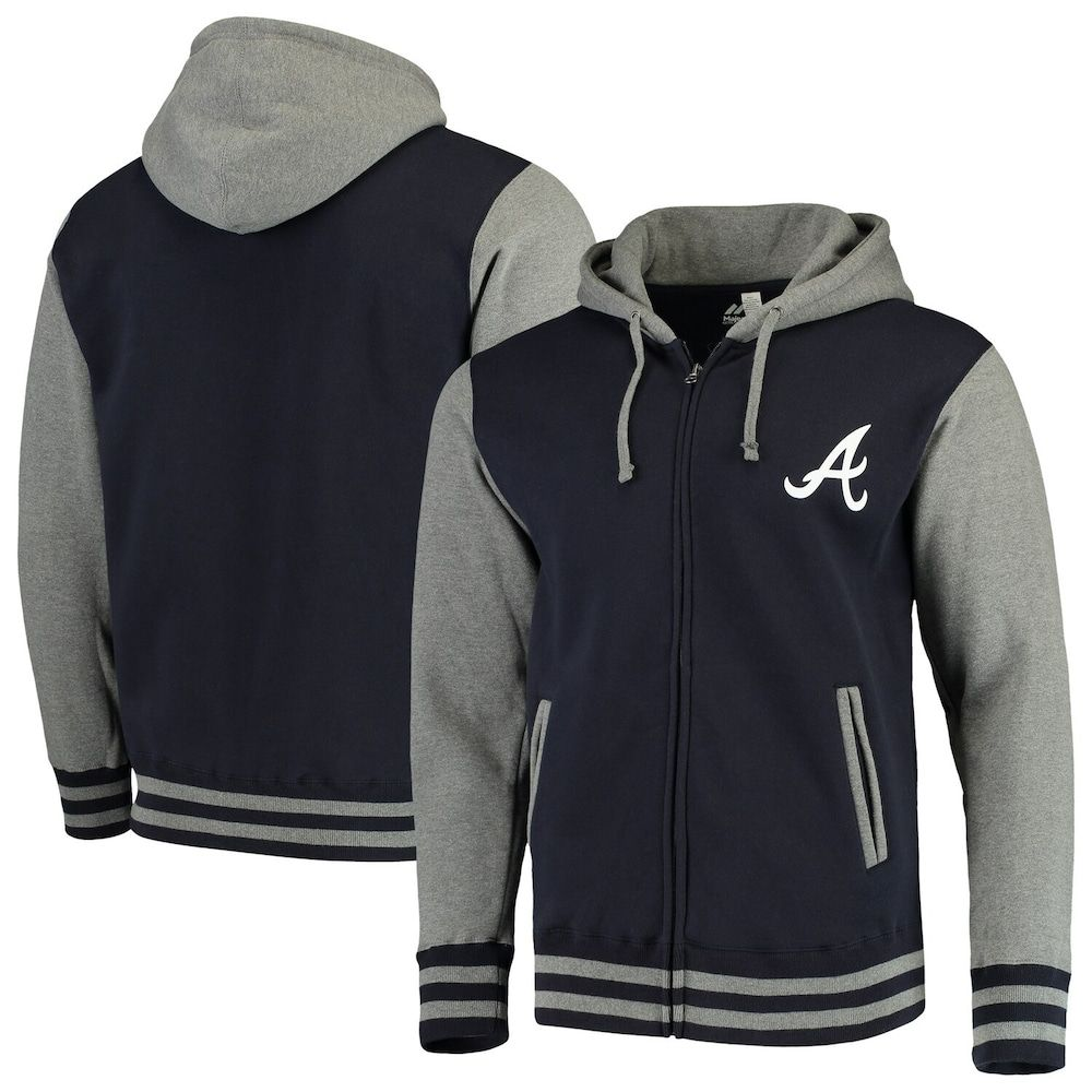Men S Majestic Navy Gray Atlanta Braves Iconic Full Zip Hoodie Full Zip Hoodie Hoodies Zip Hoodie