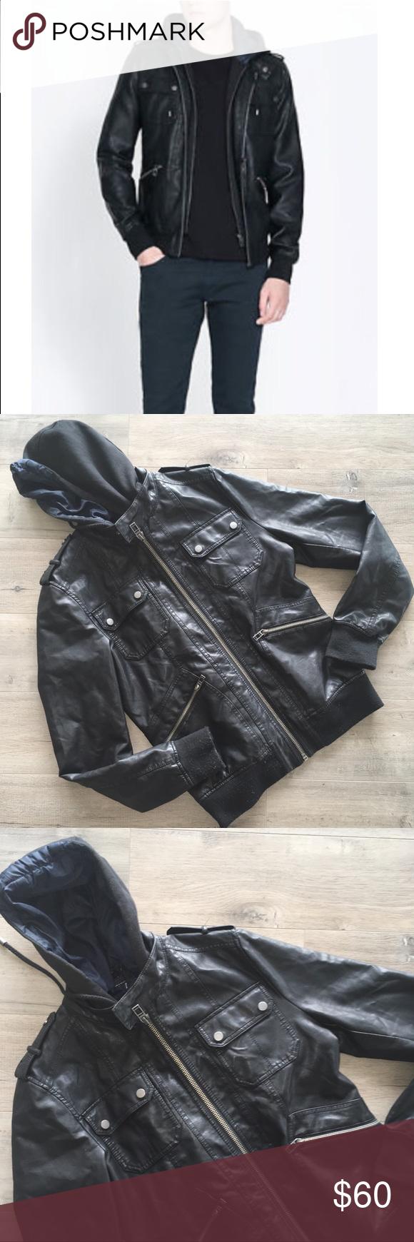 ZARA ~ed Jordan faux leather removable hood jacket | Black