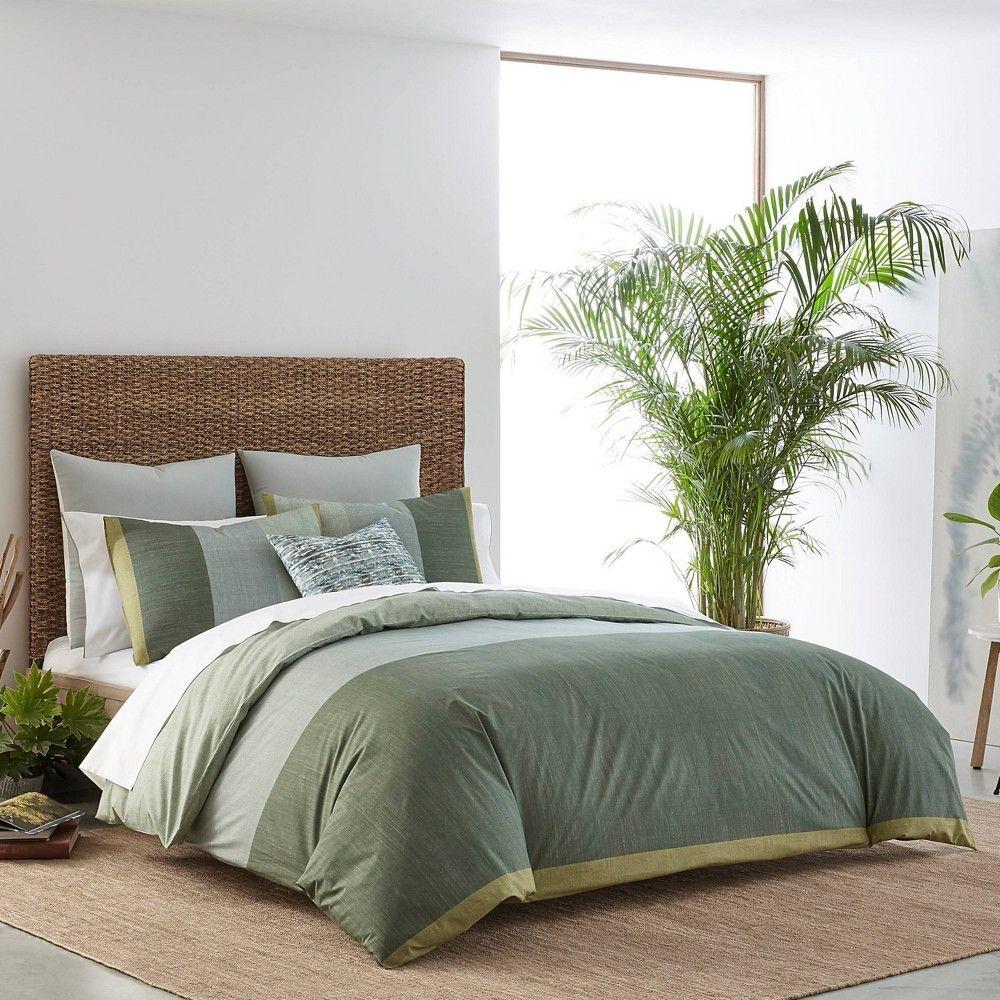 King Izi Chambray Color Block Duvet Cover Green In 2021 Green Duvet Covers Green Duvet Comforter Sets