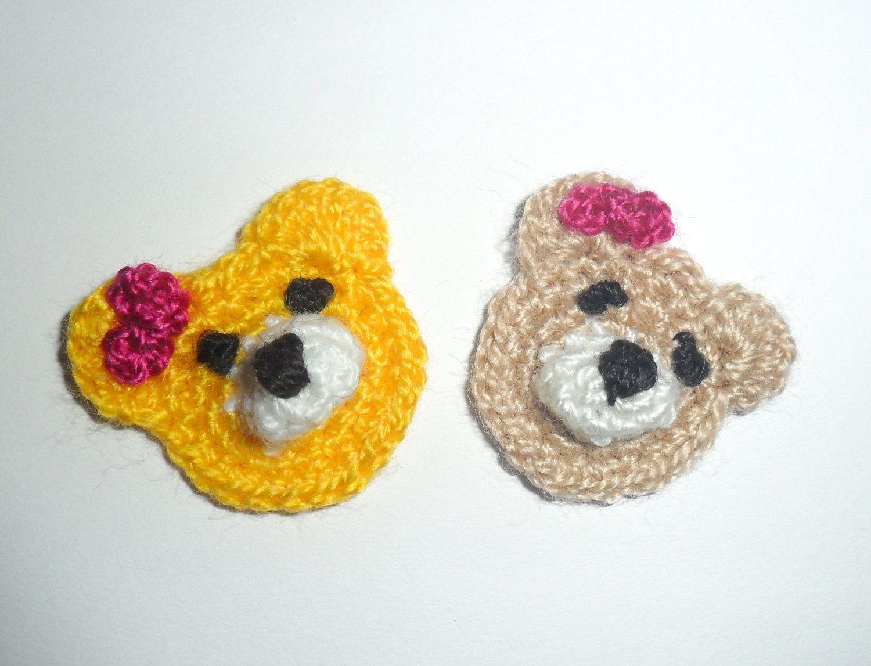 Crochet Applique Small Bears | Appliques | Pinterest | Apliques ...