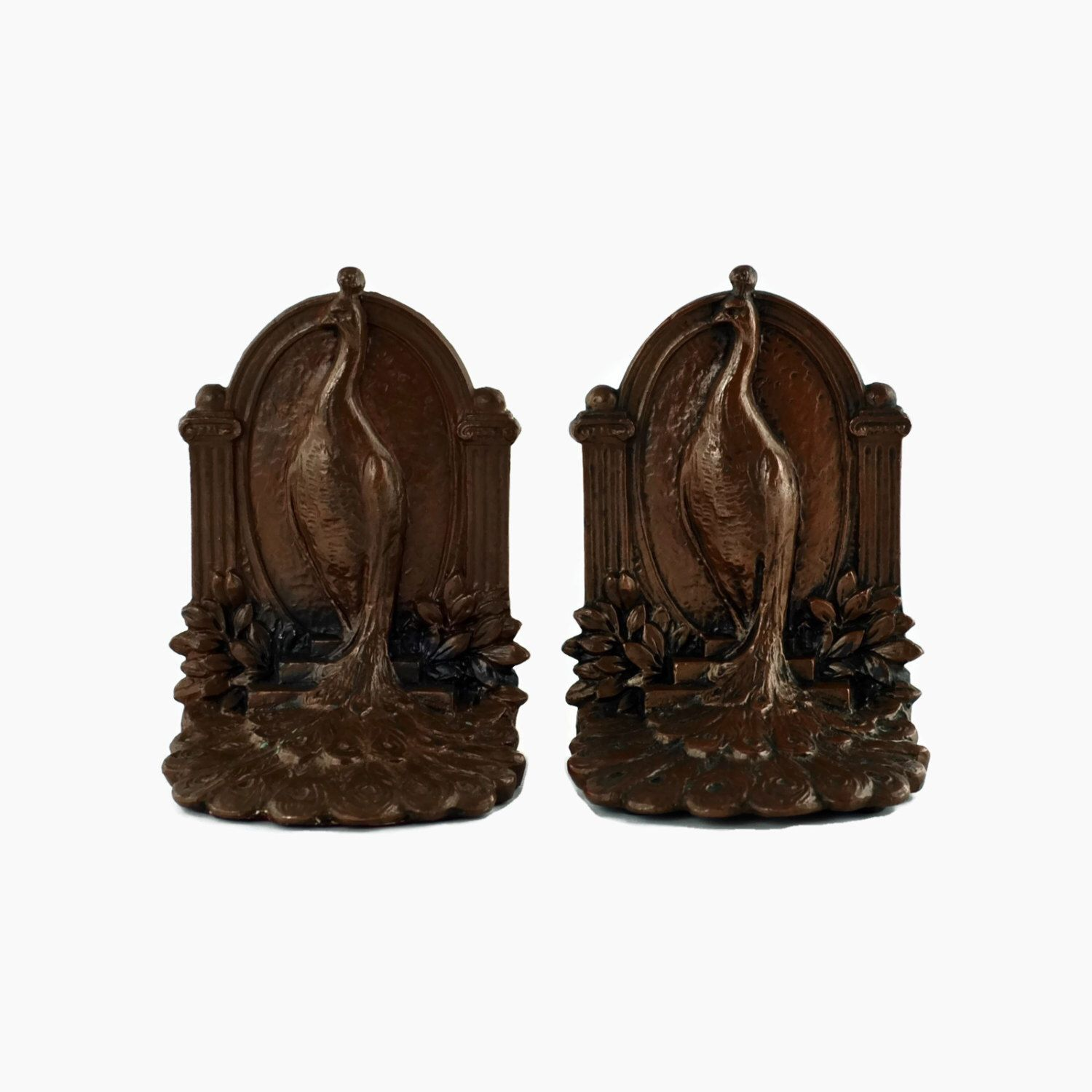 Antique Weidlich Brothers Peacock Bookends with a Bronze Finish by BirneyCreek on Etsy https://www.etsy.com/listing/230446080/antique-weidlich-brothers-peacock