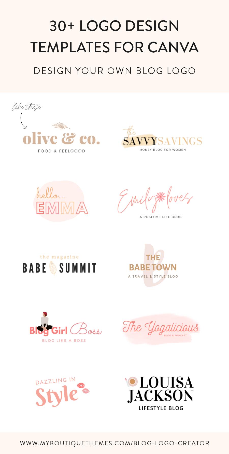 Blog Logo Creator for Canva Canva Logo Templates Logo