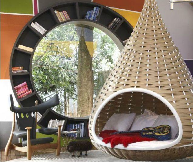 Round bookcase is also a window!
