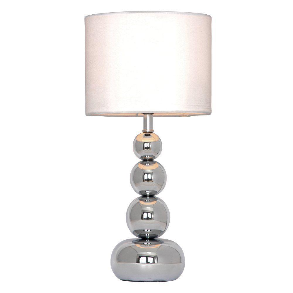 Chrom Kugel Touch Dimmung Tisch Lampe Mit Weissem Samt Seide Look Lampenschirm Amazon De Beleuchtung Lampentisch Lampe Lampenschirm