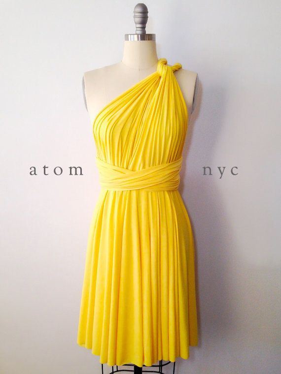Yellow Floor Length Gown Infinity Dress Convertible Formal Multiway