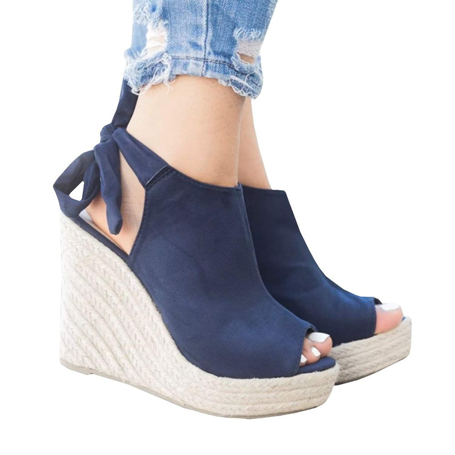 ef6d48efad7 SySea Womens Wedge Sandals Peep Toe Tie Up Ankle Strap Espadrille ...