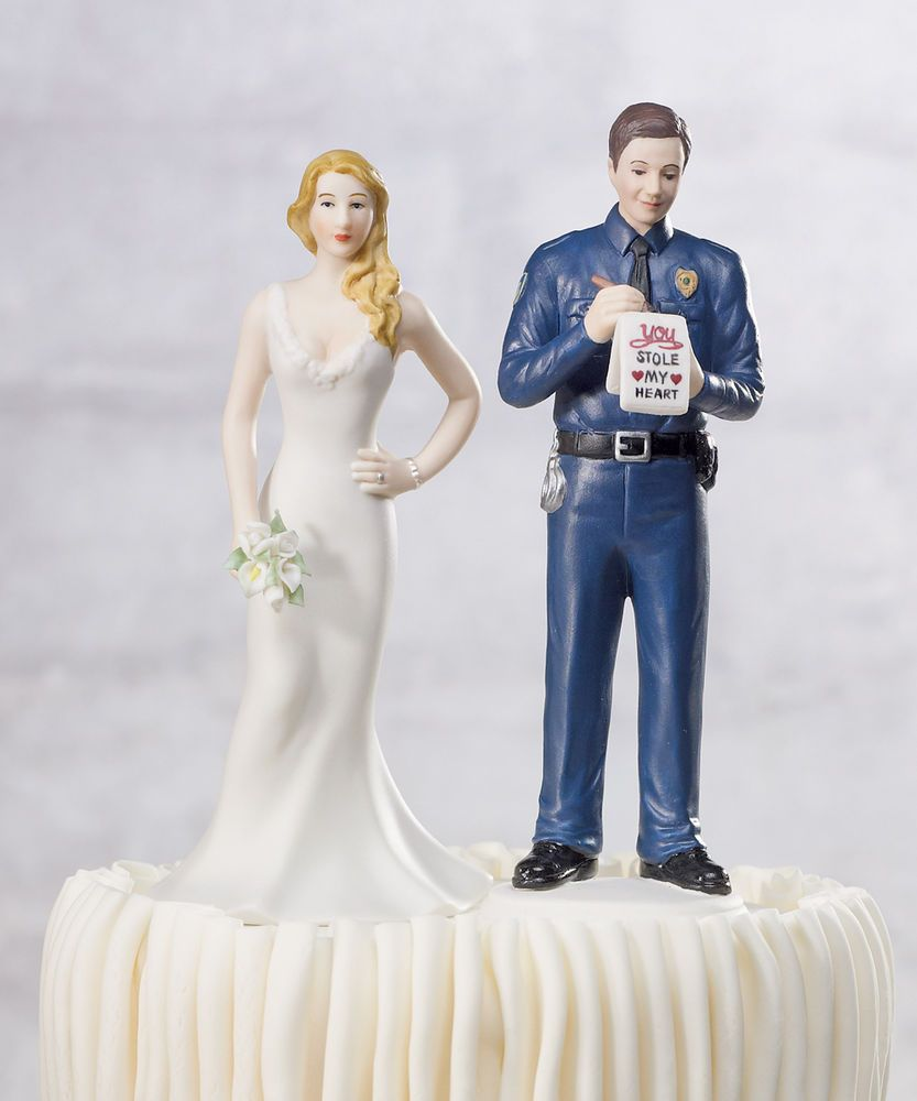 A Love Citation Policeman Groom Wedding Cake Topper Custom Colors Available