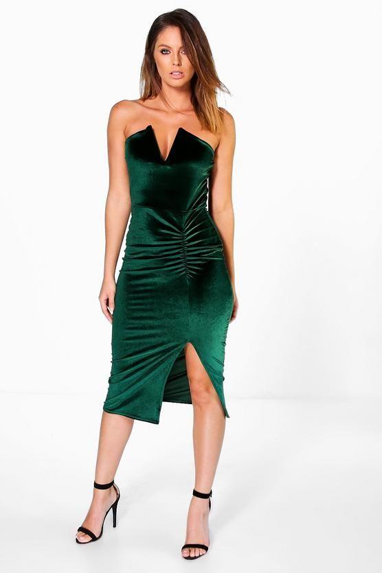 Robe Bandeau Fronce Mi Longue Lottie En Velours Col En V Plongeant Idees Vestimentaires Idees De Mode Robes Maxi Blancs