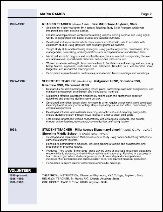 Resume Sample   Resumes    Elementary Education