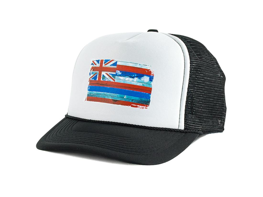 Bone Blanks Co Snap Back Bandeira Hawaii Aba Curva Branco E Preto