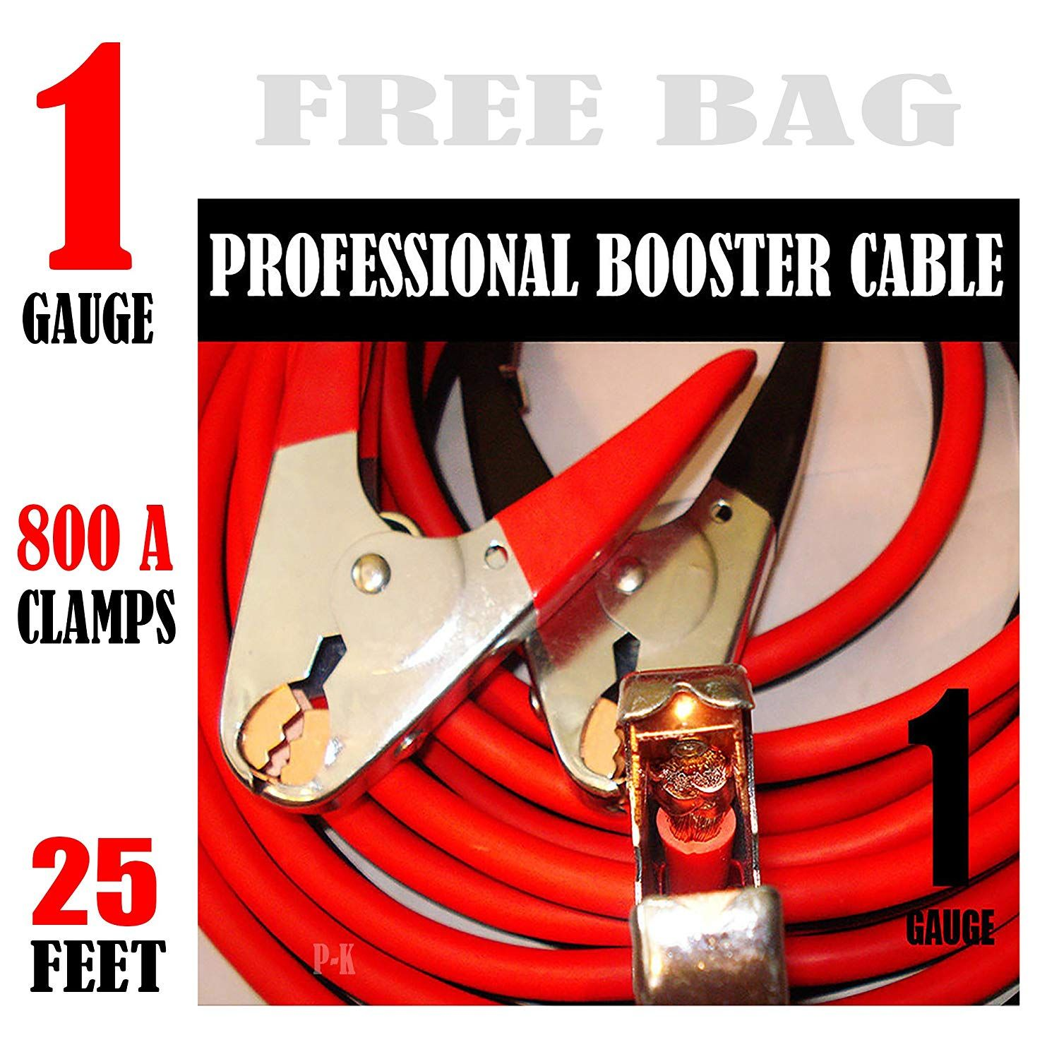 Industrial Heavy Duty 25 Feet 1 Gauge Booster Jumper Cables Click Image For More Details This Is An Affiliate Link In 2020 Jumper Cables Boosters Heavy Duty