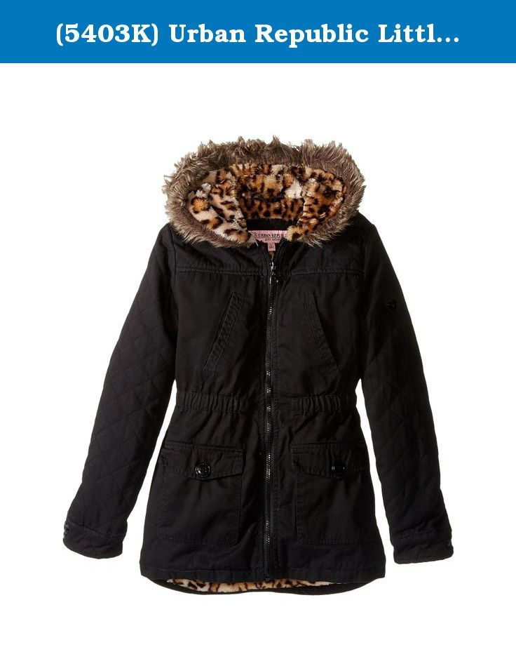 9af1e572b5f2 (5403K) Urban Republic Little Girls Lined Twill Jacket With Faux Fur  Trimmed Hood in