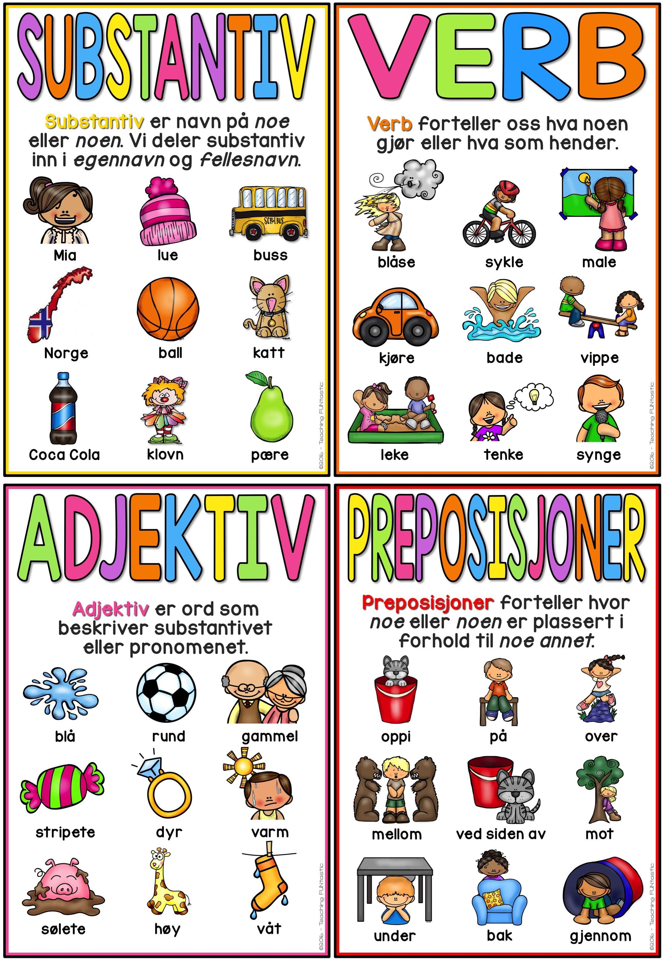 Ordklasser Plakater Adjektiver Spesialundervisning Grammatikk
