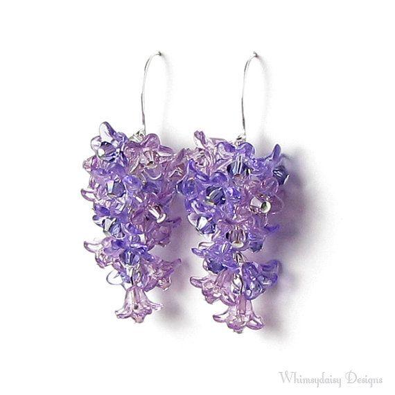 Spring Lilac Flower Swarovski Crystal Cluster Silver Earrings Etsy Lilac Earrings Silver Earrings Etsy Lily Jewelry
