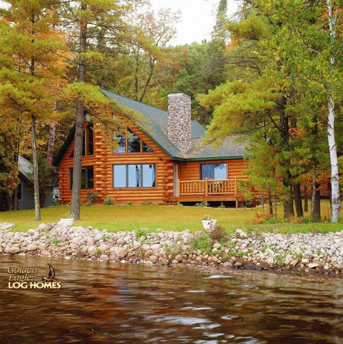 Lake Side Exterior Log homes, Cabin, Timber house