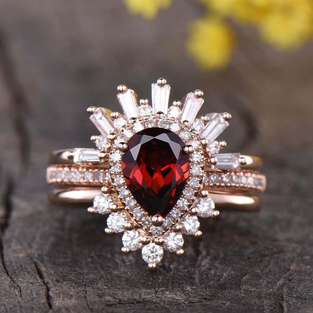 3pcs Pear Garnet Vintage Engagement Ring Wedding Set In 2020 Garnet Engagement Ring Garnet Wedding Rings Vintage Engagement Rings