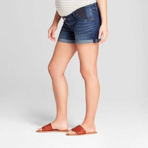 ded037e5880a6 Maternity Inset Panel Midi Jean Shorts - Isabel Maternity by Ingrid & Isabel™  Dark Wash : Target