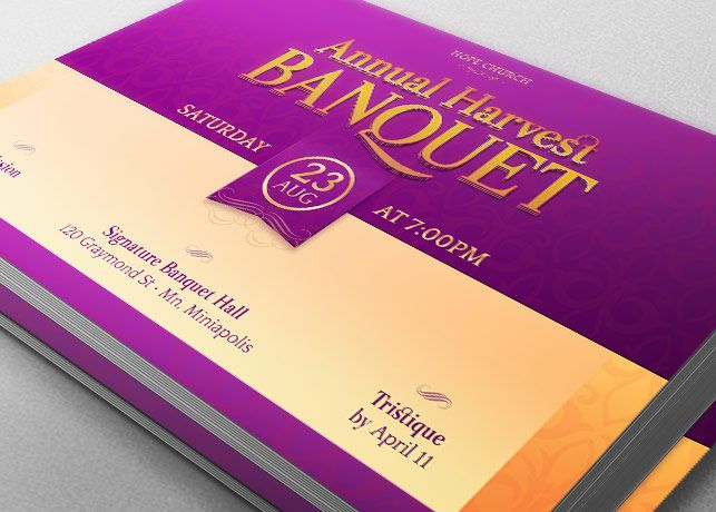 Harvest Banquet Postcard Template - $600 Church Harvest Banquet - banquet ticket template