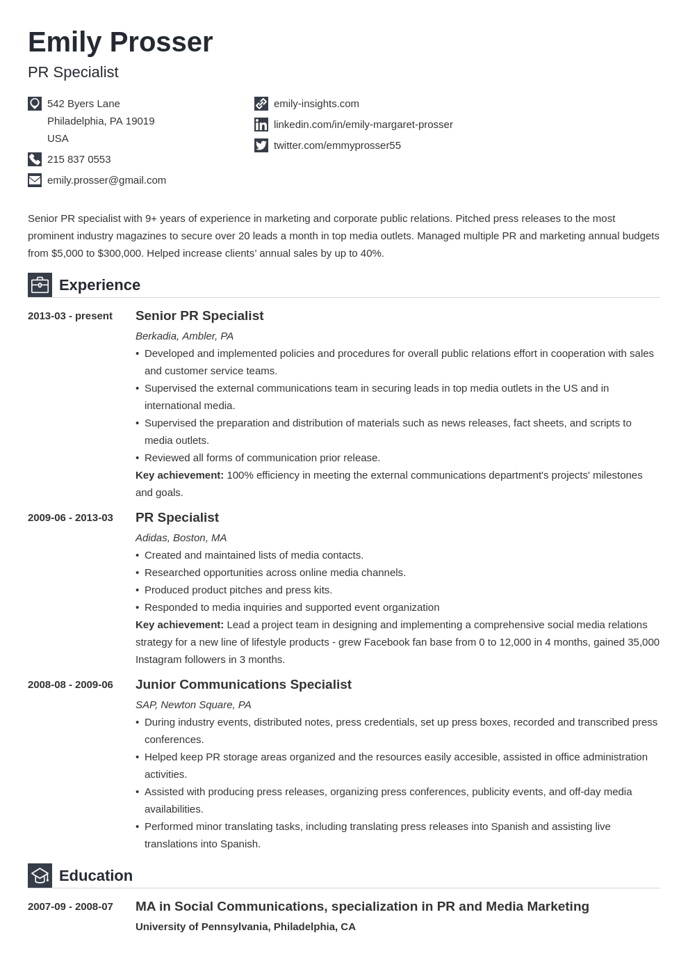 public relations resume example template iconic in 2020