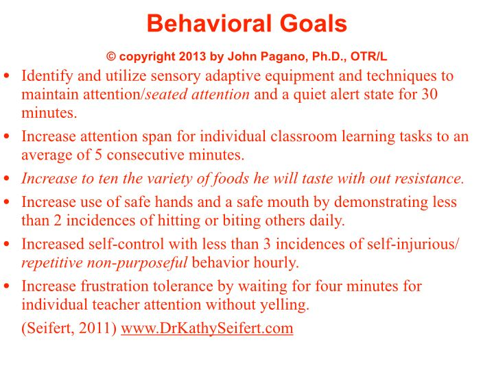 Sample Occupational Therapy goals related to the sensory - sample threat assessment
