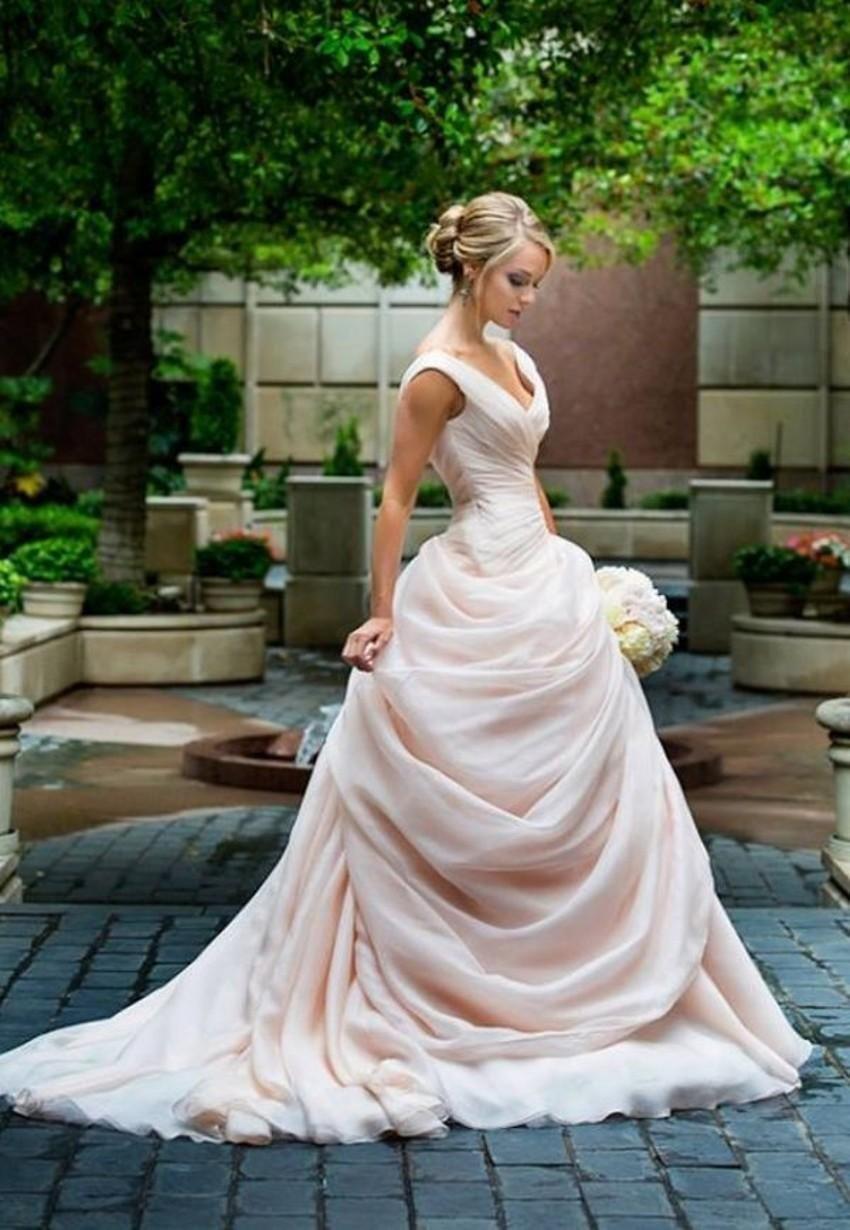Red Dresses Drop Waist Wedding Dress Pink Blush Ball Gown V Neckline ...