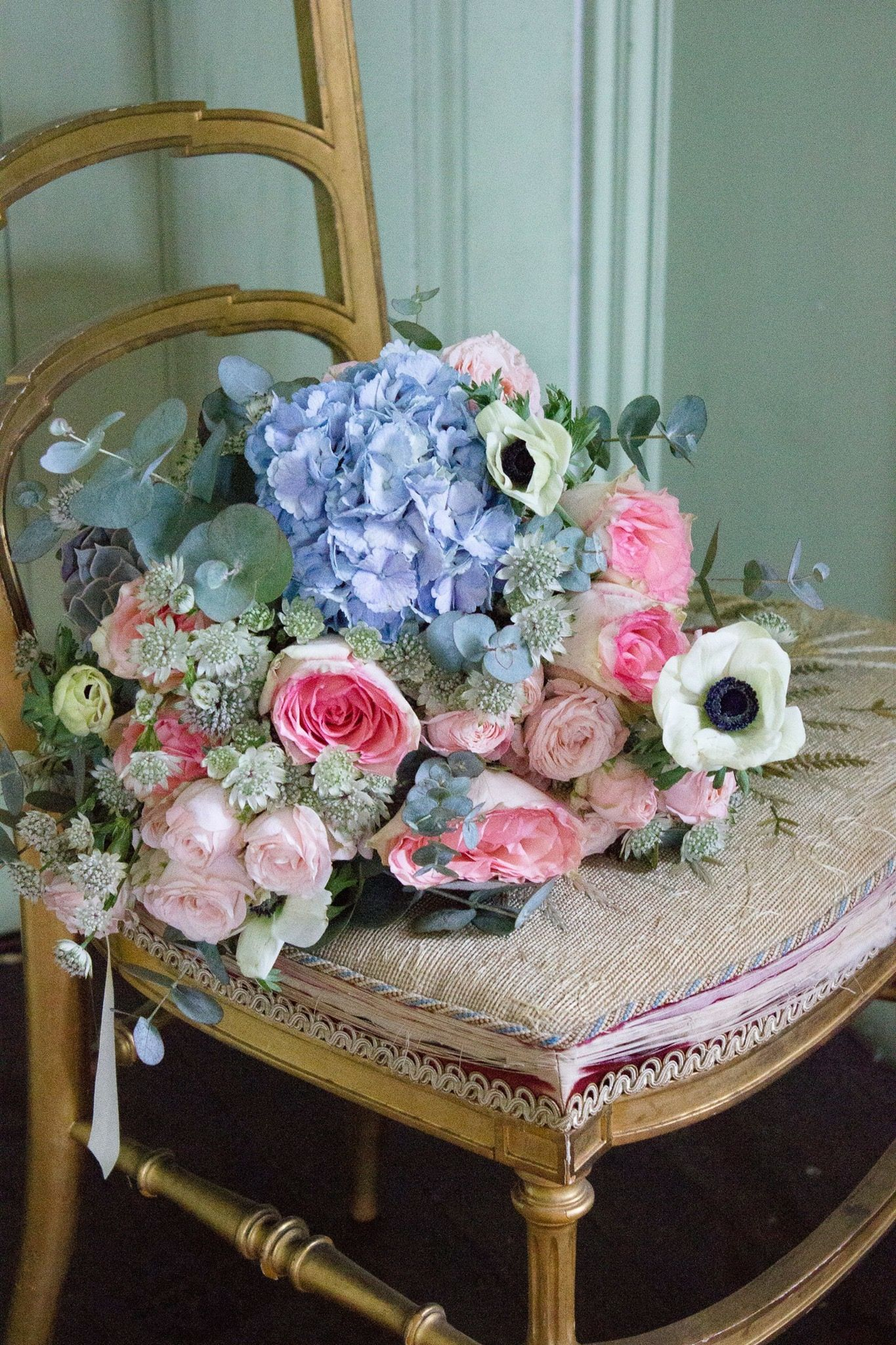 Bridal Bouquet In Pink And Blue Pink And Blue Wedding Flowers