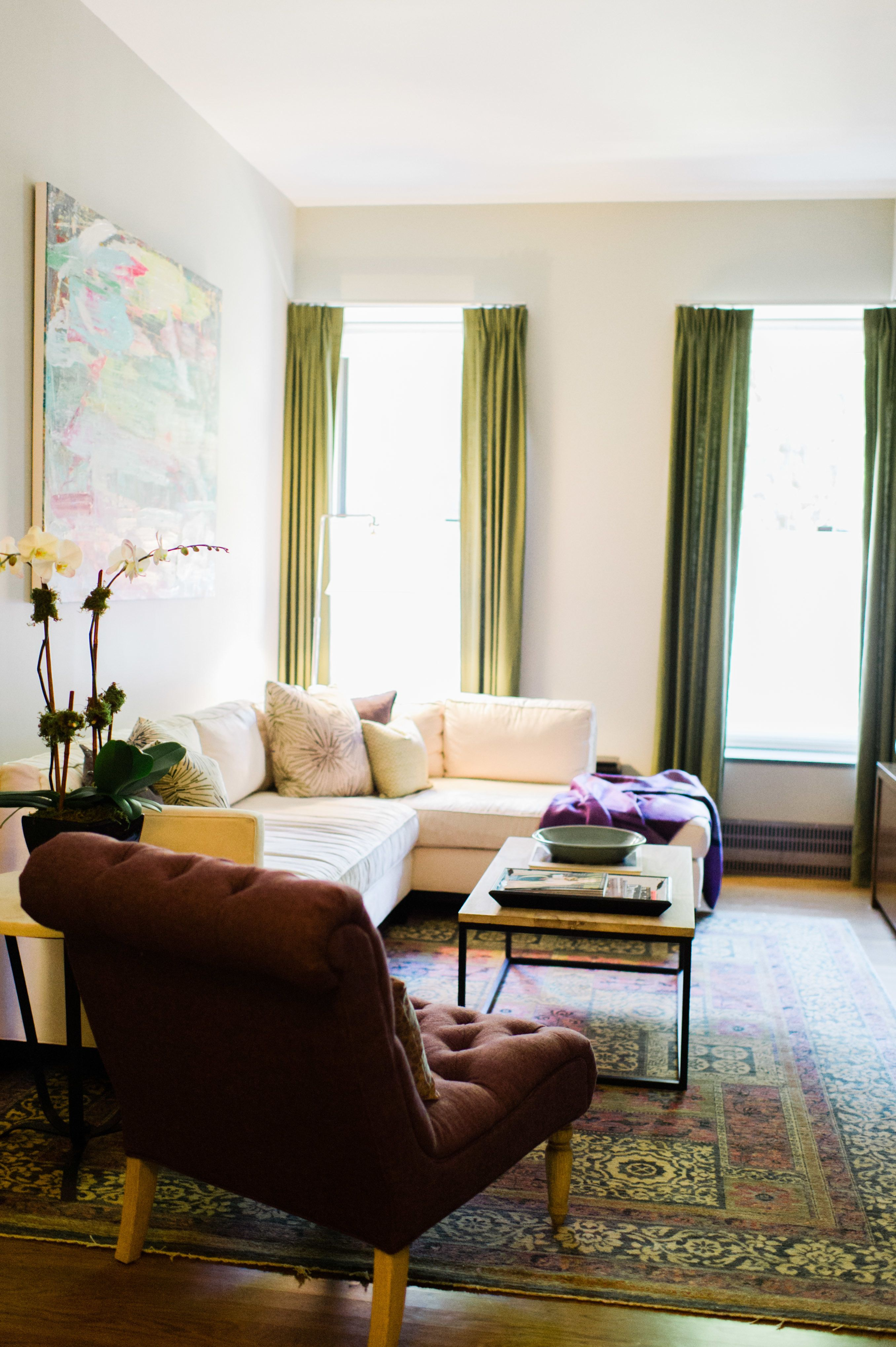 New York Loft Tour | Lofts, Green accent chair and Living rooms