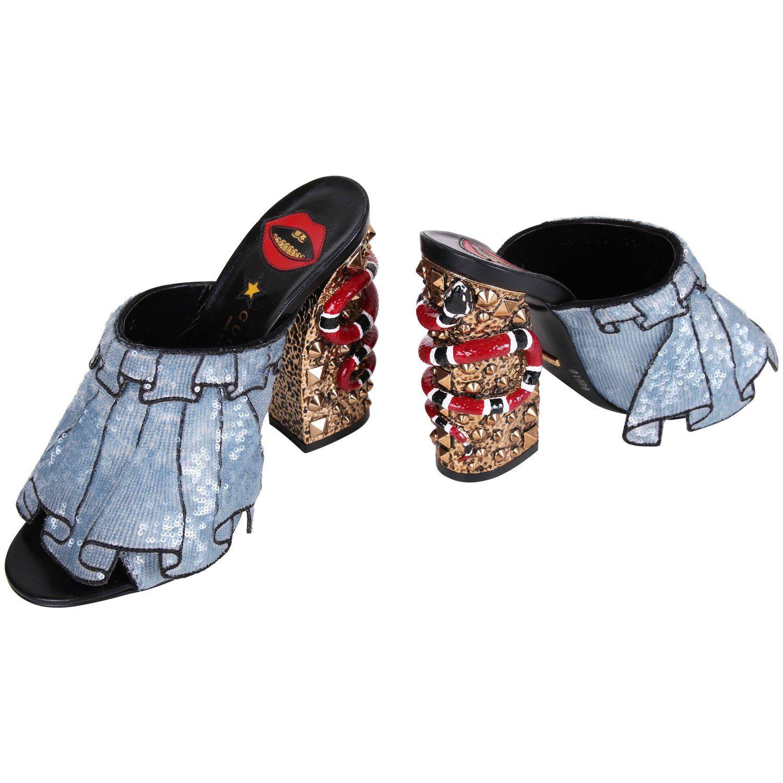 1eb679ca561 2016 Gucci Owen Ruffle Trompe L Oeil Sequin Block-Heel Mules w Snakes Sz 37