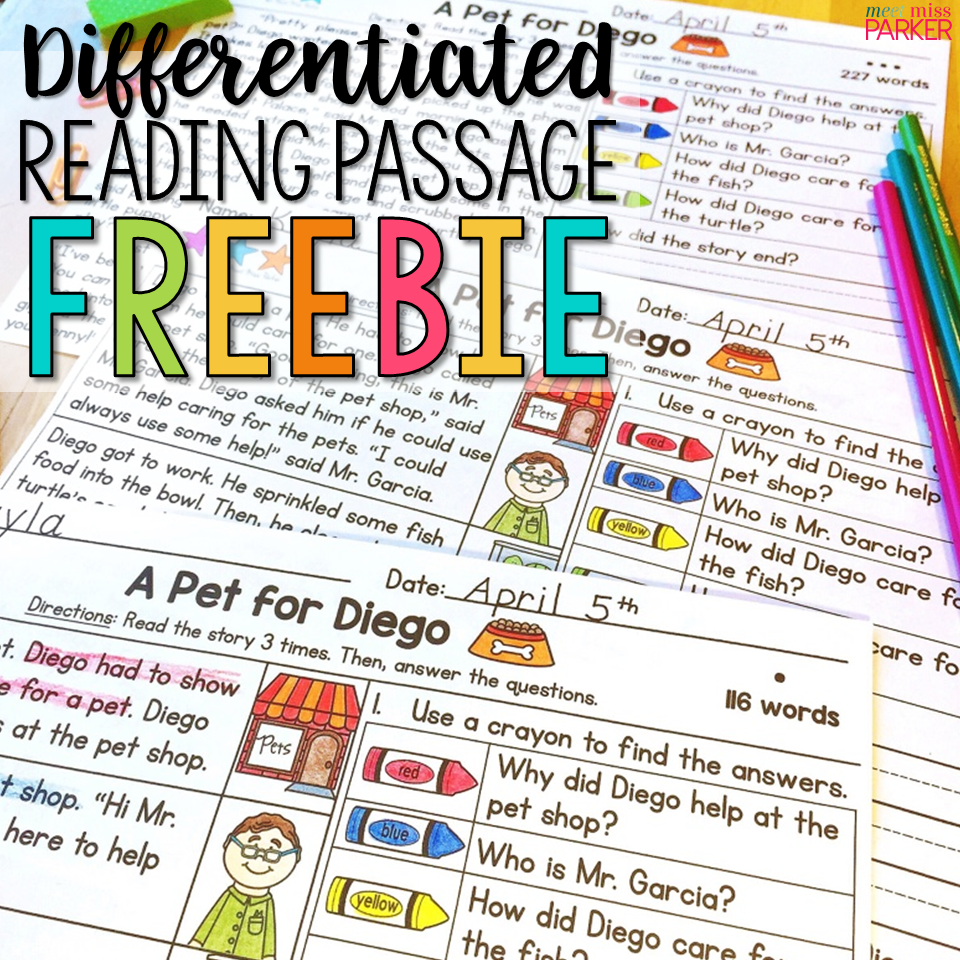Differentiated Reading Passage and Questions FREEBIE | Kindergarten ...