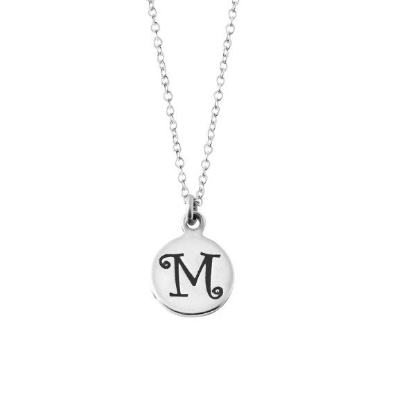 925 sterling silver petite round disc initial letter m pendant 925 sterling silver petite round disc initial letter m pendant necklace aloadofball Image collections