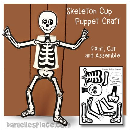 Skeleton Cup Puppet Craft From Www Daniellesplace Com With Images