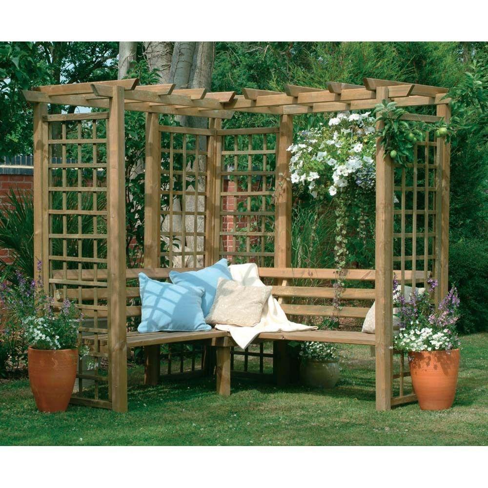 Classic Corner Bench Wooden Lattice Garden Arbour Pergola Seating ...