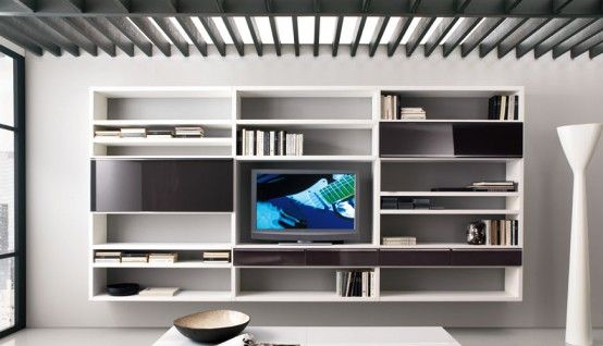 How To Use Living Room Walls To Create Modern Shelves House Living Room Modern Living Room Wall Units Living Room Modern