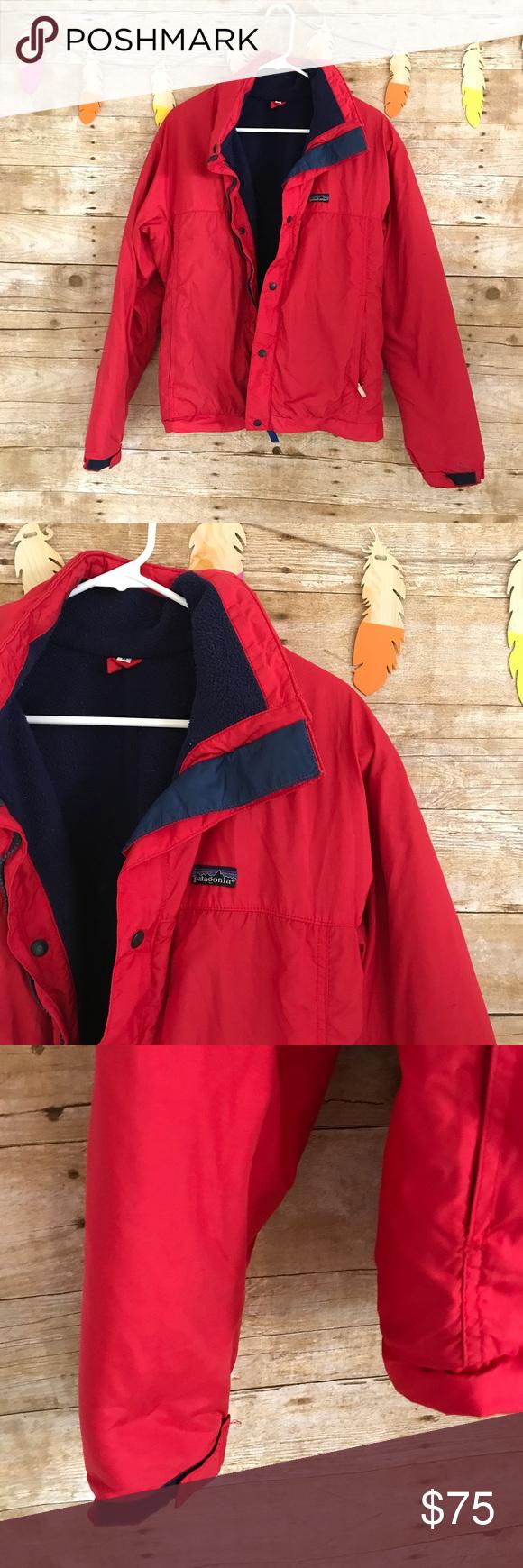 Menus vintage red patagonia fleece puffer jacket patagonia fleece