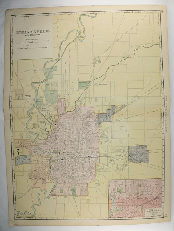 1903 Large Vintage Indianapolis Map City Street Map Indianapolis