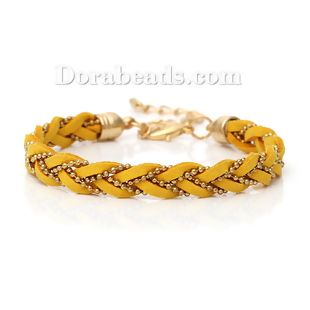 Fashion Copper Jewelry Bracelets Gold Plated Mixed Velvet Lobster Clasp 20.0cm long, 2 PCs