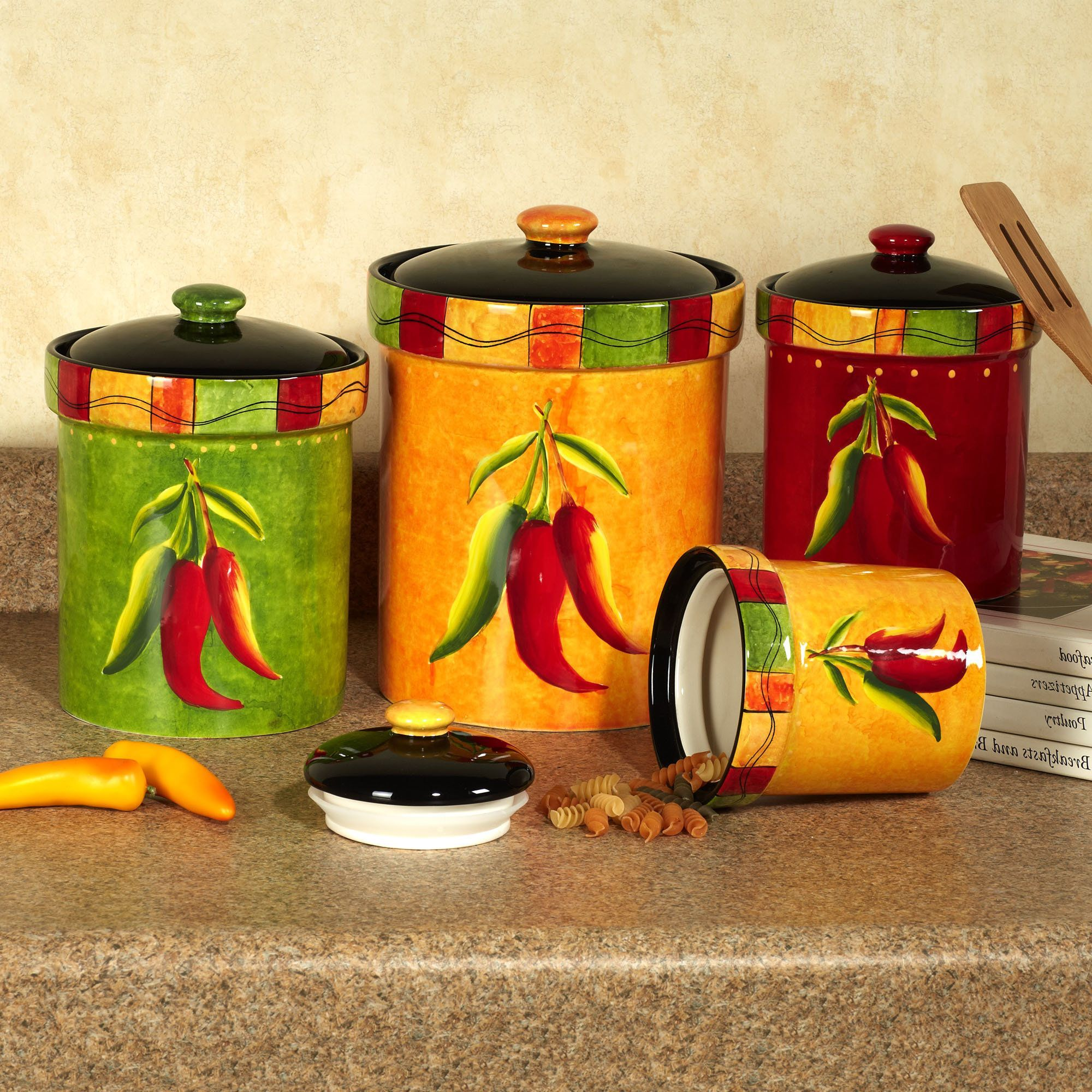 Chili Pepper Decor Of Kitchen Nice Colorful Jar With Peppers